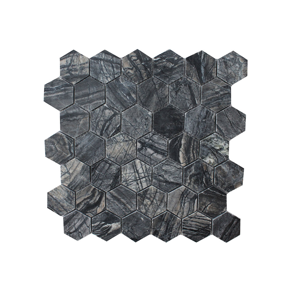 Zebra Large Hexagon Mosaic Silver Lion